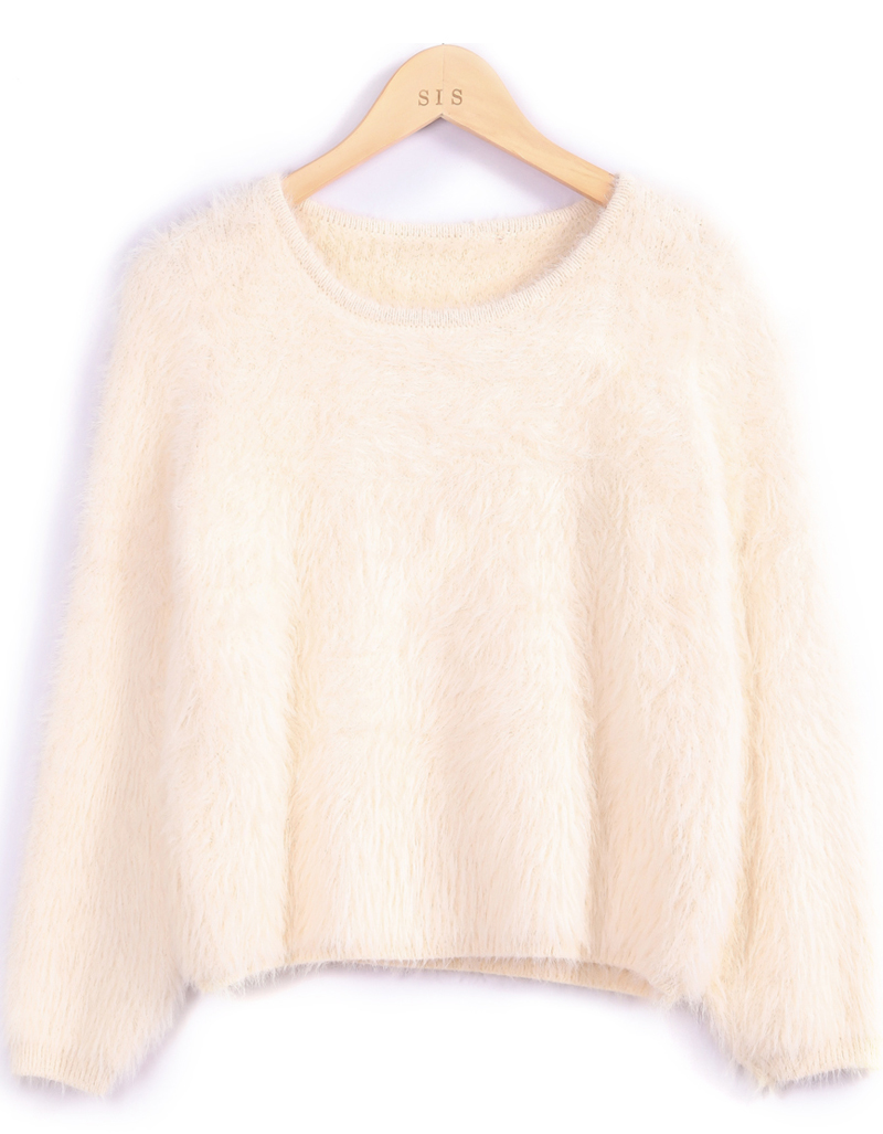 Apricot long sleeve shaggy crop sweater