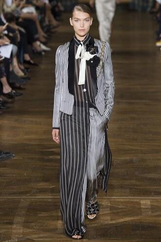jacket stripes striped pants shirt shirt dress runway paris fashion week 2016 lanvin