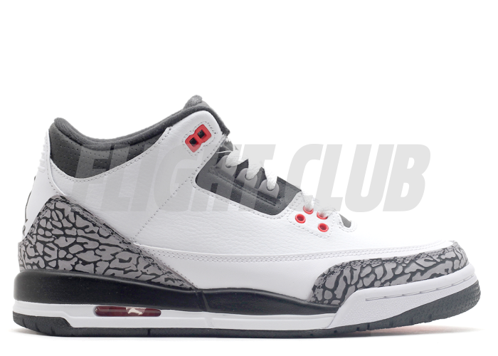 "air jordan 3 retro bg (gs) ""infrared 23"" - white/blackwlf grey-infrrd 23 - Air Jordan 3 - Air Jordans  