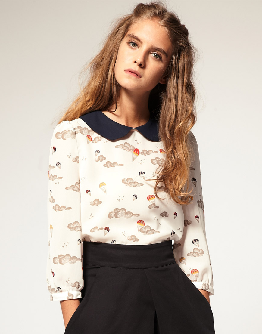 ASOS Parachute Print Peterpan Collar Blouse at asos.com