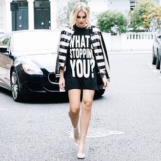 dress tumblr t-shirt t-shirt dress black dress quote on it mini dress clear boots clear transparent transparent boots high heels boots jacket striped jacket stripes sequins black and white