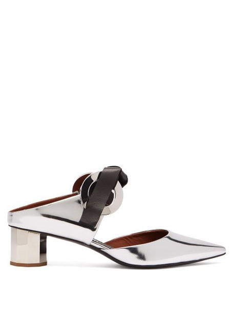 Proenza Schouler - Spectra Tie Front Leather Mules - Womens - Silver
