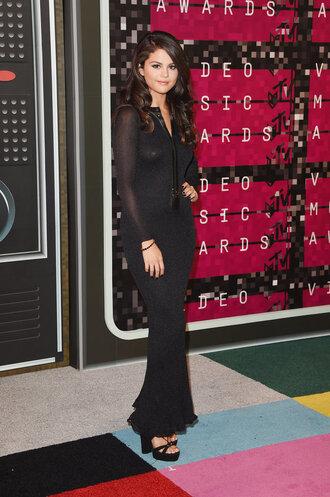 dress gown maxi dress prom dress bodycon dress black dress selena gomez platform sandals vma