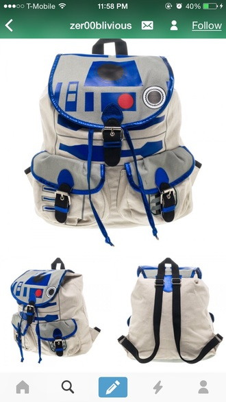 bag bookbag blue book bag backpack star wars r2d2