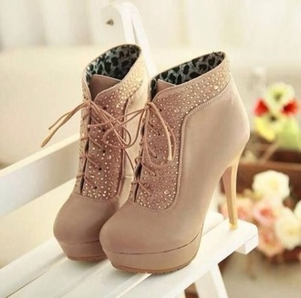 shoes tan lace up booties rhinestone shoes boots sparkle tan lace up booties winter outfits nude high heels tan booties nude