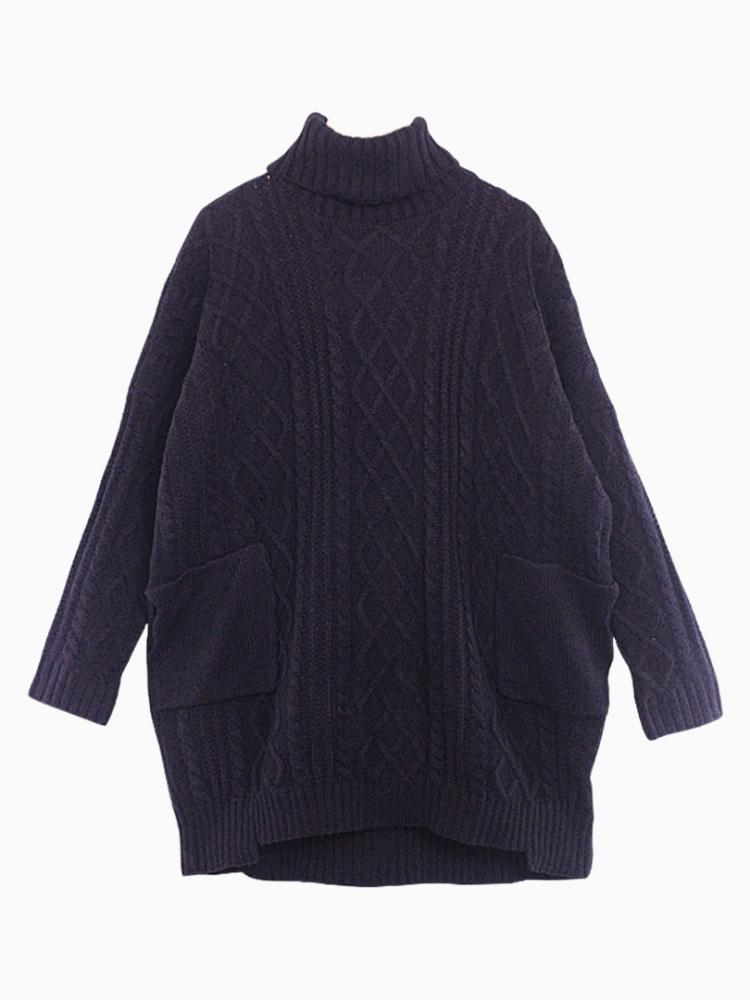 Black Oversize Rolled Neck Sweater | Choies