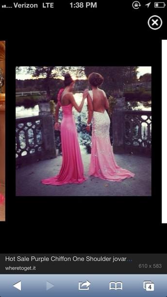 dress pink low back sparkle prom dress