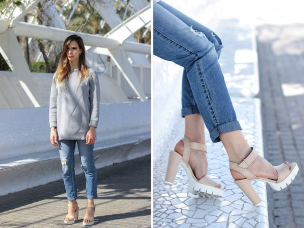 fashion quite blogger grey sweater cleated sole platforms sweater shoes jewels