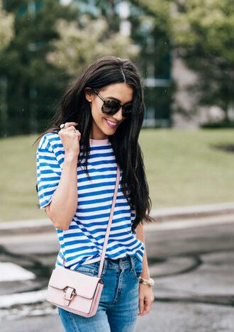 t-shirt denim skinny jeans blogger blogger style striped t-shirt crossbody bag