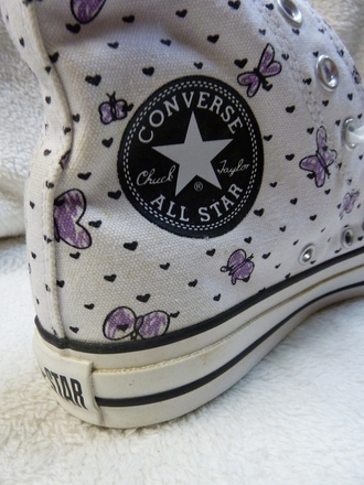 shoes converse white converse butterfly print purple chuck taylor all stars girly butterfly shoes purple shoes baskets heart print