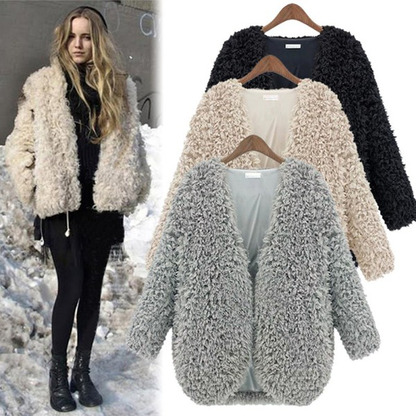 Beige V Neck Long Sleeve Faux Fur Coat -SheIn(Sheinside)