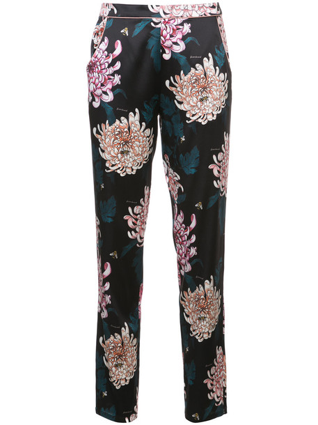Fleur du Mal women floral black silk pants