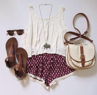 shorts indian top red indian boots jewels summer outfits fashion dark red tank top outfit tumblr girl shoes