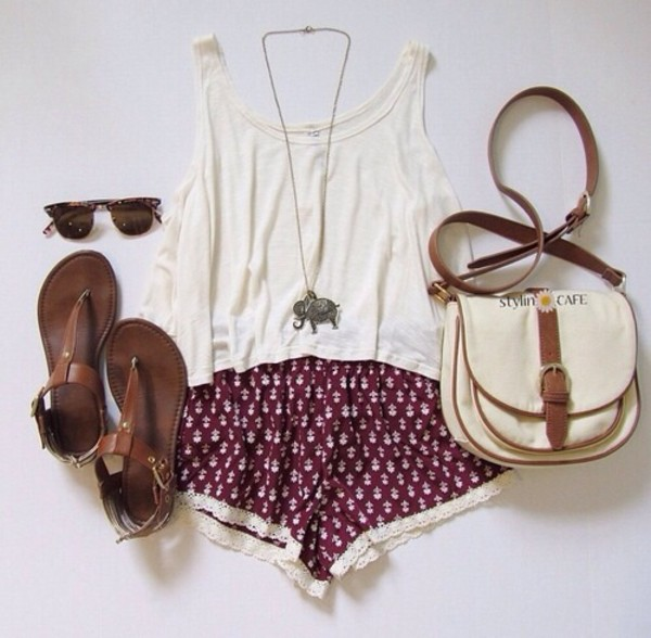 shorts indian top red indian boots jewels summer outfits fashion dark red shoes sunglasses bag sandals tank top outfit tumblr girl blouse boho pattern shirt tank top sunglasses necklace printed shorts shoulder bag maroon shorts white top purple