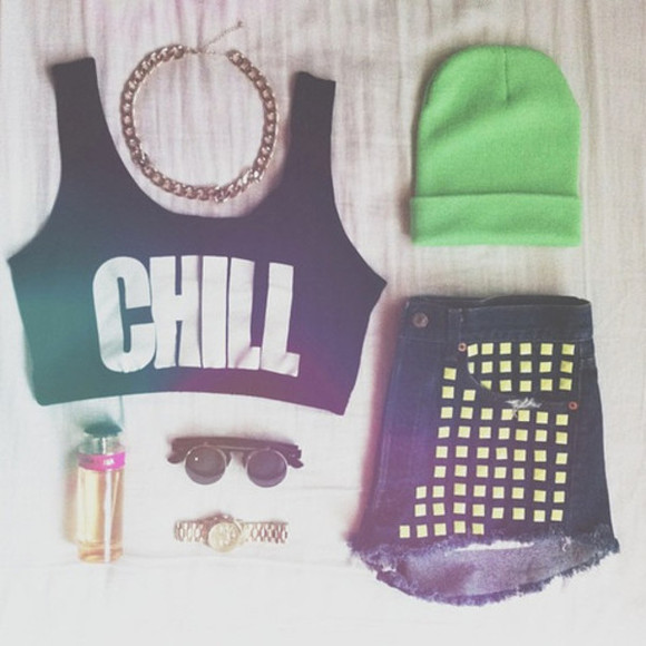 shorts rivets tank top chill crop tops beanie sunglasses High waisted shorts