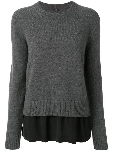 Joseph sweater women layered silk wool grey