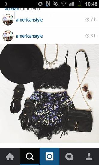 shorts crop tops hat necklace glasses shoes black wedges purse