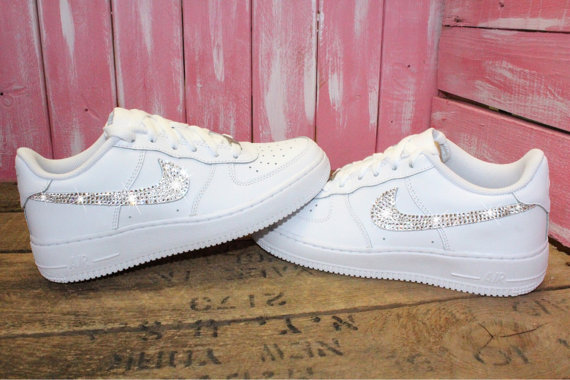 Swarovski Nike Air Force 1 Women s Shoes Blinged Out With ... 6682dc2e0dcc
