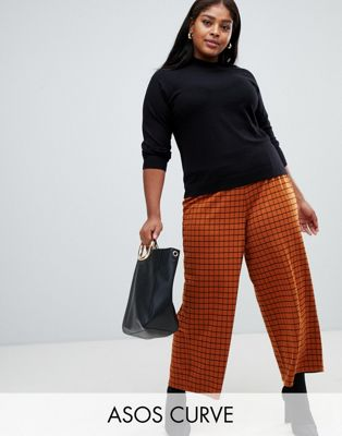 ASOS DESIGN Curve wide leg culotte PANTS in rust check at asos.com