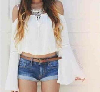 white blouse blouse over shoulder