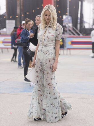 dress tumblr streetstyle fashion week 2017 fashion week maxi dress long dress short sleeve dress short sleeve printed dress spring outfits see through see through dress