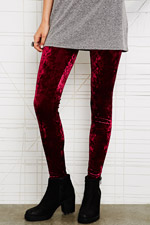 Crushed Velvet Leggings in Burgundy at Urban Outfitters