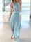 Light blue flowing v neck hollowed asymmetrical dress