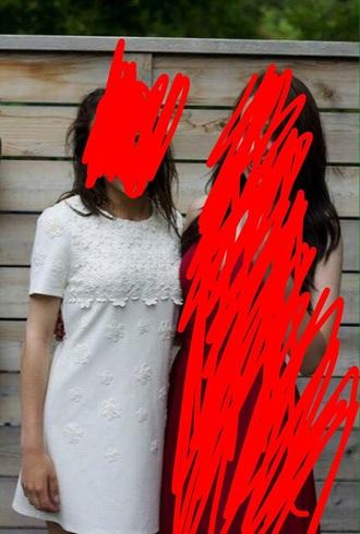 dress white short flowers prom fancy formal cute t-shirt dress t-shirt cream cap sleeve semi formal