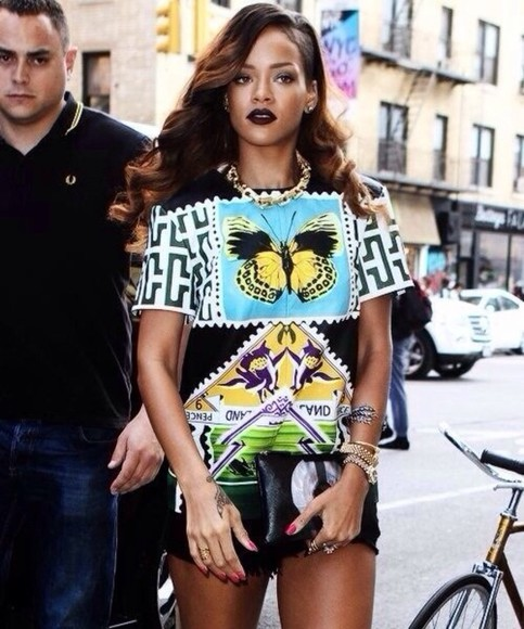 rihanna butterfly shirt black t-shirt butterflies colourful celebrity fvkin blouse