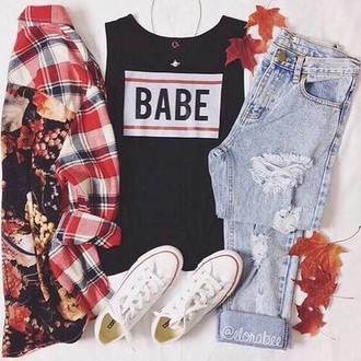 shirt jeans shoes t-shirt tank top babe top