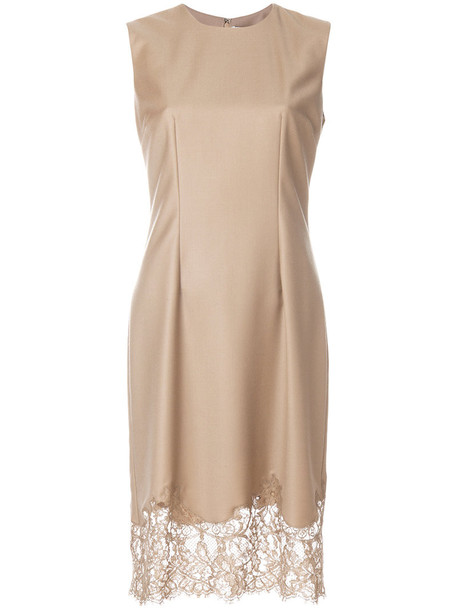 Givenchy dress embroidered women lace silk wool brown