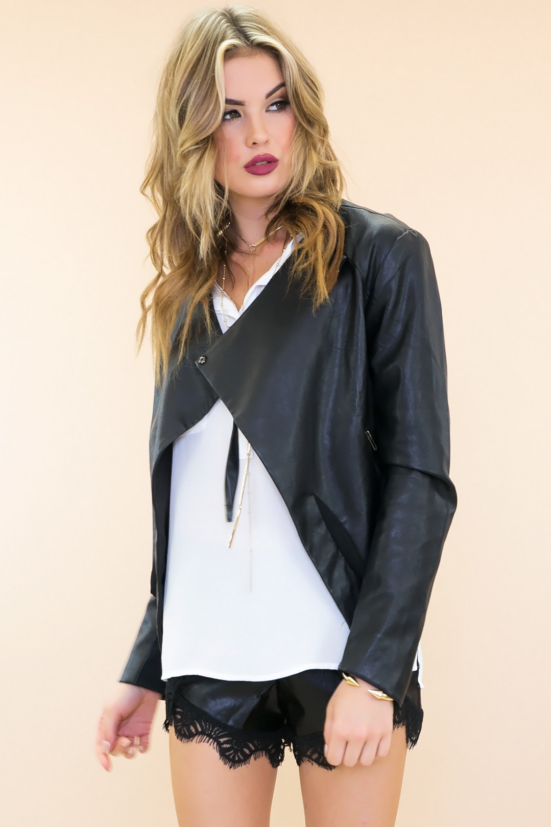 Lestin crop vegan leather jacket