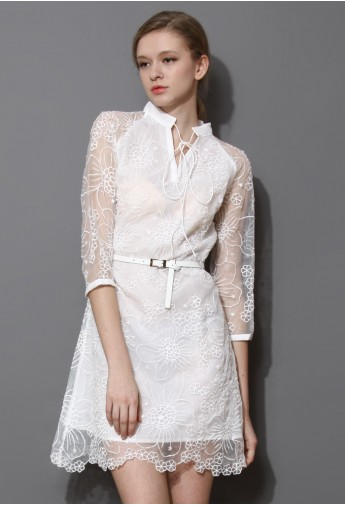 White String Neck Embroidered Organza Dress  - Retro, Indie and Unique Fashion