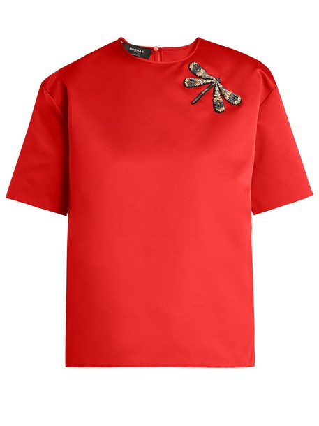 Rochas top dragonfly satin red
