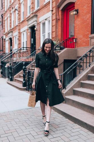 thecollegeprepster blogger dress shoes bag jewels basket bag black dress spring outfits