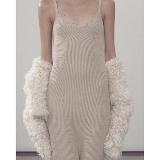 dress ribbed knitwear knitted dress maxi dress nude nude dress fur