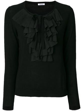 top knitted top ruffle women black wool
