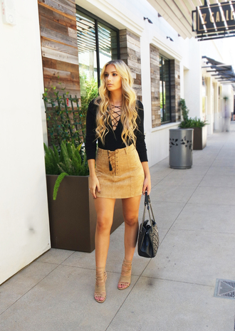 skirt lace up skirt mini skirt camel skirt suede skirt top black top lace up top sandals sandal heels high heel sandals nude sandals bag black bag handbag summer outfits blouse lace up black long sleeves beige beige skirt short shoes heels
