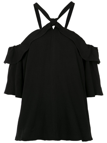 blouse ruffle women black top