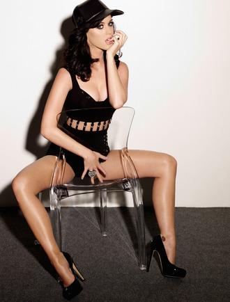 underwear katy perry celebrity editorial panties black panties bra black bra cap leather cap platform pumps pumps high heel pumps