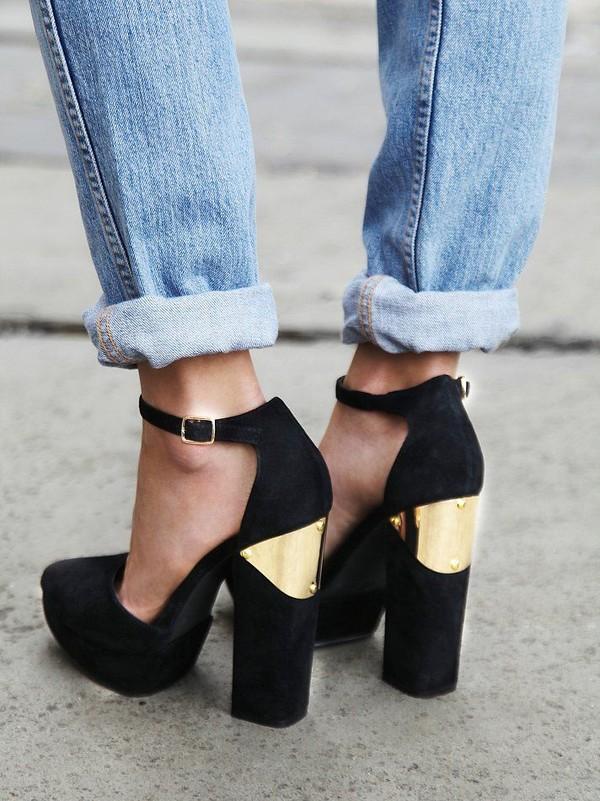 shoes heels black metal gold gold high heels