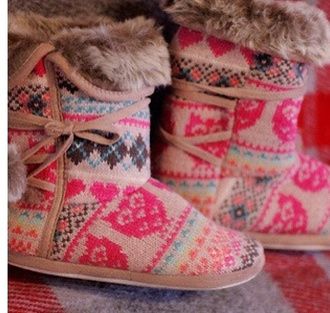 shoes slippers fur boots fluffy pink multicolor aztec colorful aztex pretty i love you