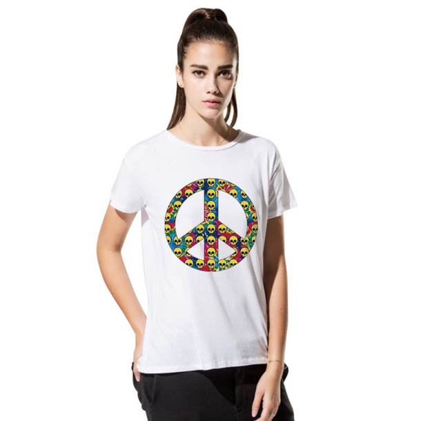T Shirt Peace Sign Skulls T Shirt Lady Tee Plus Size