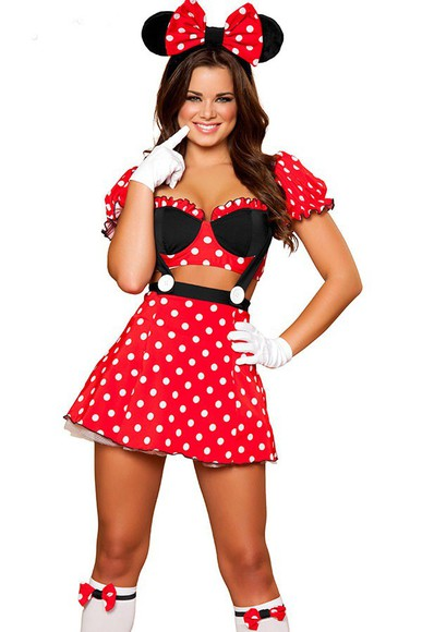 black polka dots dress costume disney mickey&mini mouse duvet micky mouse halloween costume sexy red dress bows