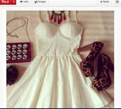 dress,leopard print high heels,mini dress,red and white,outfit,white dress,white,bustier,corset,skater dress,prom,high heels,bag,flowers,fashion,shoes,bra,classy,cream dress,high heel pumps