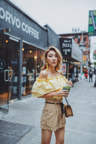 not jess fashion blogger top shorts jewels bag tumblr off the shoulder off the shoulder top yellow yellow top nude shorts earrings