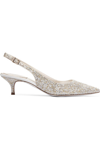 embellished pumps satin silver shoes