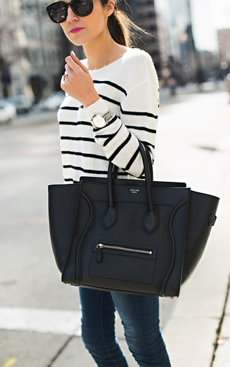 hello fashion blogger striped sweater celine bag black bag leather bag
