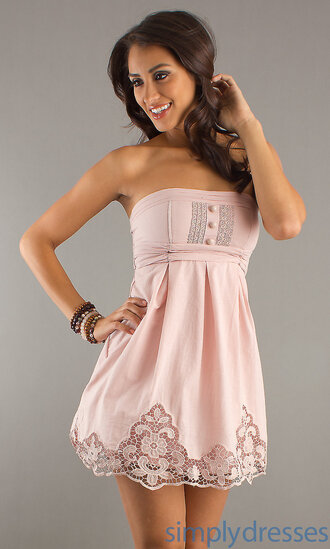 dress pink embroidered buttons strapless