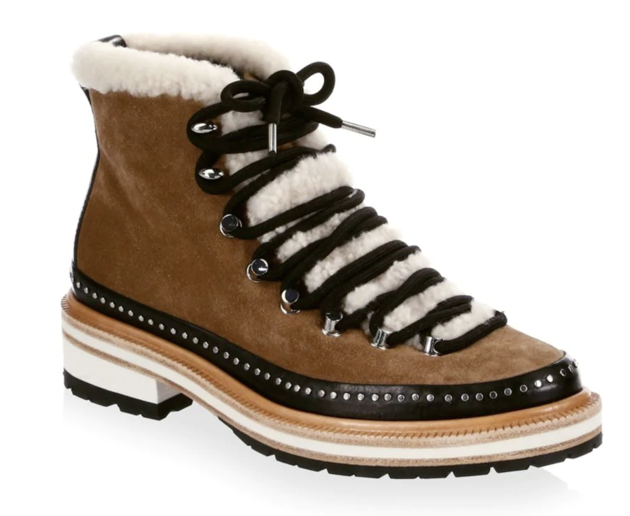 Rag & Bone Compass Shearling-Trimmed Leather Hiking Boots